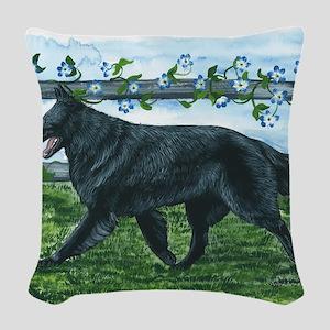 bel shep fence Woven Throw Pillow