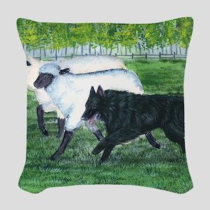 bel shep herd Woven Throw Pillow