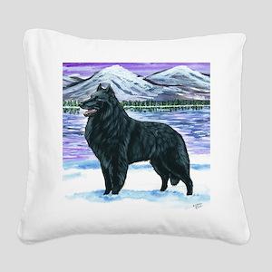 bel shep snow Square Canvas Pillow