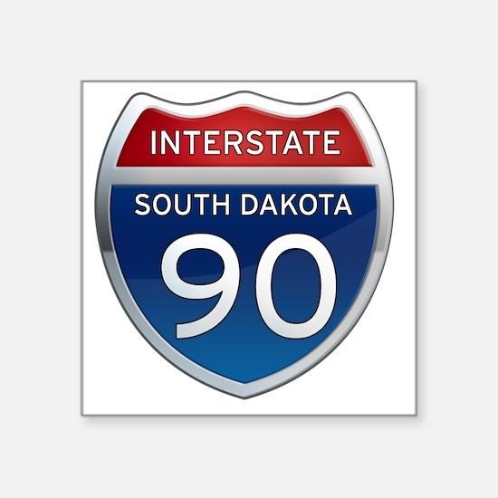 "Interstate 90 - South Dakot Square Sticker 3"" x 3"""