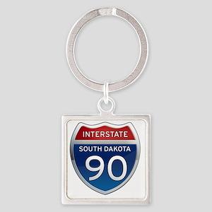 Interstate 90 - South Dakota Square Keychain