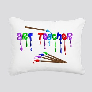 Art Teacher Multi Brushe Rectangular Canvas Pillow