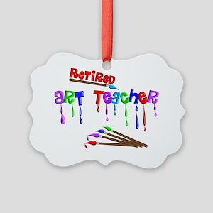 Retired ARt Teacher Multi Brushes Picture Ornament