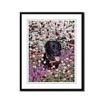 Abby Black Lab in Flowers Framed Panel Print