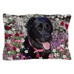 Abby Black Lab in Flowers Pillow Case