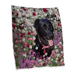 Abby Black Lab in Flowers Burlap Throw Pillow