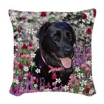 Abby Black Lab in Flowers Woven Throw Pillow