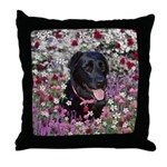 Abby Black Lab in Flowers Throw Pillow