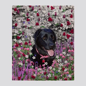 Abby Black Lab in Flowers Throw Blanket