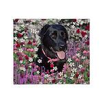 Abby Black Lab in Flowers Throw Blanket