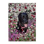 Abby Black Lab in Flowers 5'x7'Area Rug