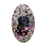 Abby Black Lab in Flowers 35x21 Oval Wall Decal