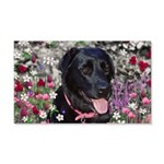 Abby Black Lab in Flowers 20x12 Wall Decal