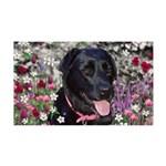 Abby Black Lab in Flowers 35x21 Wall Decal