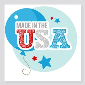 "made in the usa Square Car Magnet 3"" x 3"""