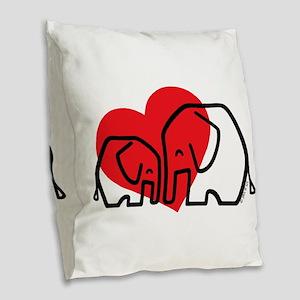 I Love Elephants Burlap Throw Pillow