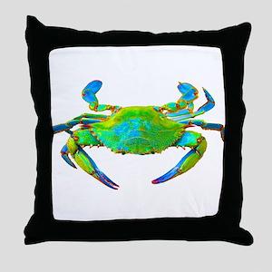 """Neon"" Blue Crab Throw Pillow"