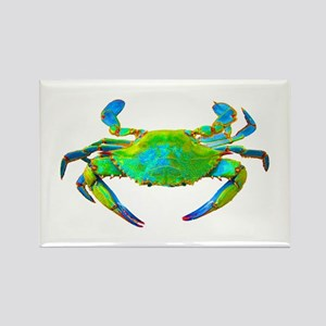 """Neon"" Blue Crab Rectangle Magnet"