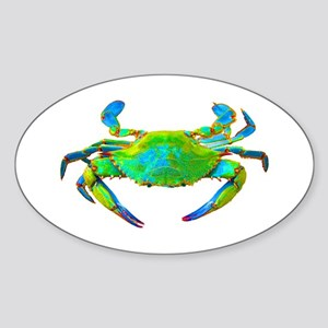 """Neon"" Blue Crab Oval Sticker"