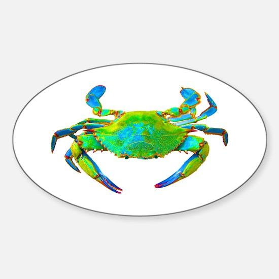 """""""Neon"""" Blue Crab Oval Decal"""