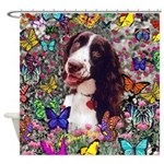 Lady Brittany Spaniel Butterflies Shower Curtain