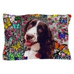 Lady Brittany Spaniel Butterflies Pillow Case
