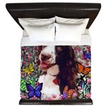 Lady Brittany Spaniel Butterflies King Duvet