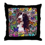 Lady Brittany Spaniel Butterflies Throw Pillow