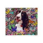 Lady Brittany Spaniel Butterflies Throw Blanket