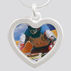 Motocross man Silver Heart Necklace