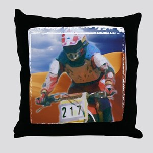 Motocross man Throw Pillow