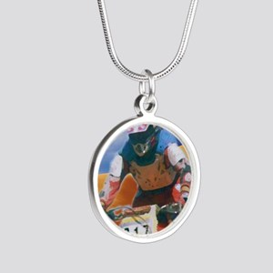 Motocross man Silver Round Necklace