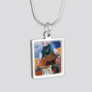 Motocross man Silver Square Necklace