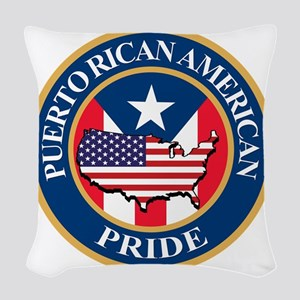 puerto rican american pride Woven Throw Pillow