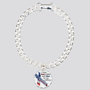 Red White and Blue for m Charm Bracelet, One Charm