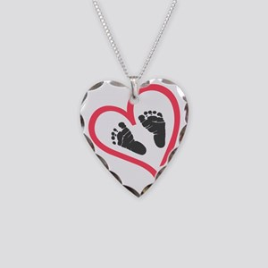 baby feet heart Necklace Heart Charm