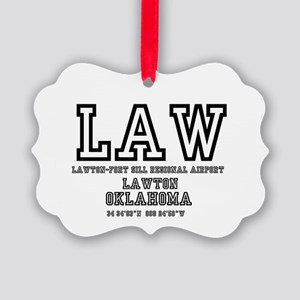 AIRPORT CODES - LAW - LAWTON FORT Picture Ornament