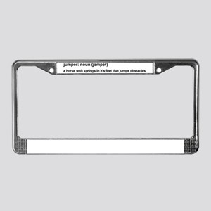 Jumper Horse - white License Plate Frame
