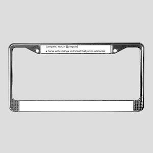 Jumper Horse - white License Plate Frame