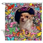 Chi Chi Chihuahua Butterflies Shower Curtain