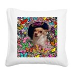 Chi Chi Chihuahua Butterflies Square Canvas Pillow