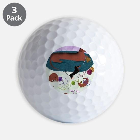 KnittingDachshundPrint Golf Ball