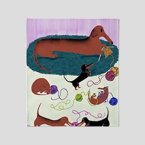 KnittingDachshundPrint Throw Blanket