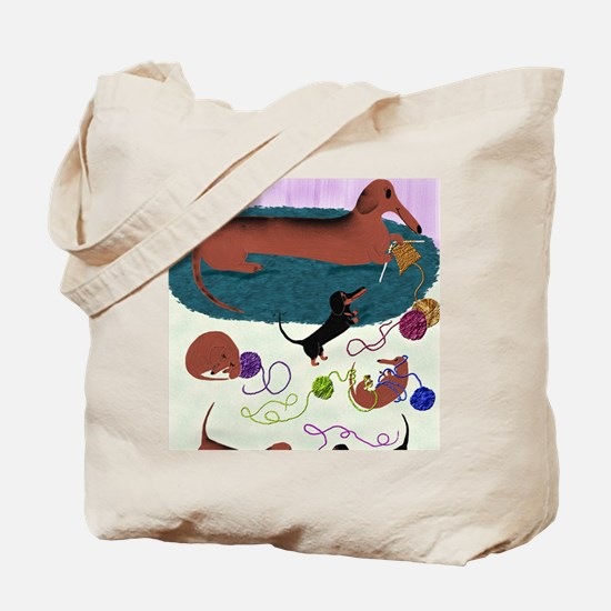 KnittingDachshundPrint Tote Bag