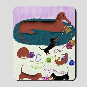 KnittingDachshundPrint Mousepad