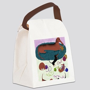 KnittingDachshundPrint Canvas Lunch Bag