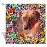 Trista Rescue Dog Butterflies Shower Curtain