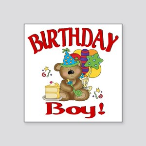 "birthday boy bear Square Sticker 3"" x 3"""
