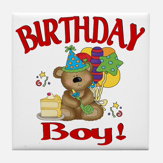 birthday boy bear Tile Coaster