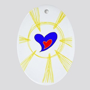 Heart Rays 2 Oval Ornament